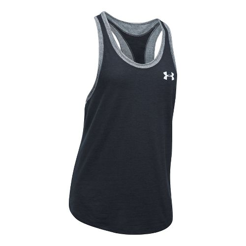 Womens Under Armour Mesh Wordmark Sleeveless & Tank Tops Technical Tops - Black/Heather XS
