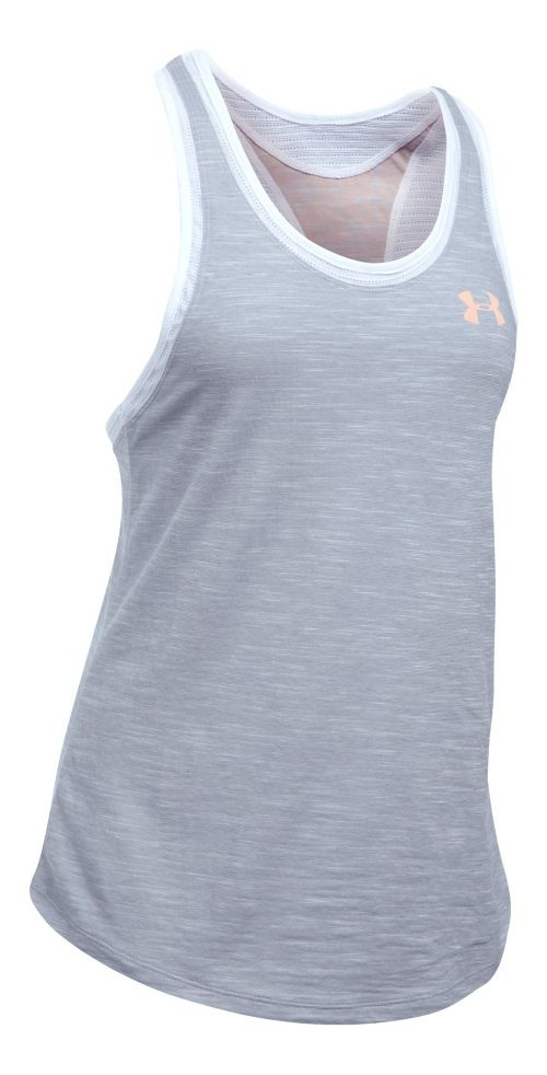 Womens Under Armour Mesh Wordmark Sleeveless & Tank Tops Technical Tops - Grey/White L