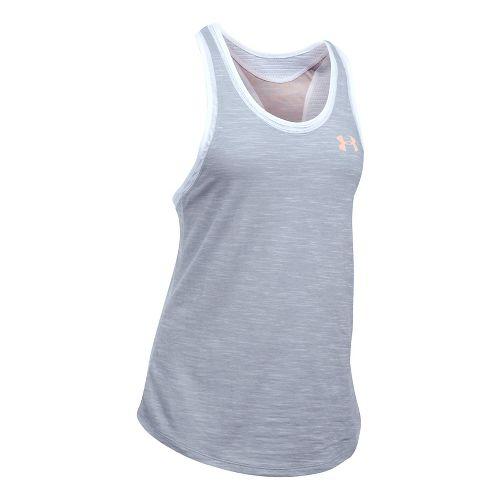 Womens Under Armour Mesh Wordmark Sleeveless & Tank Tops Technical Tops - Grey/White L