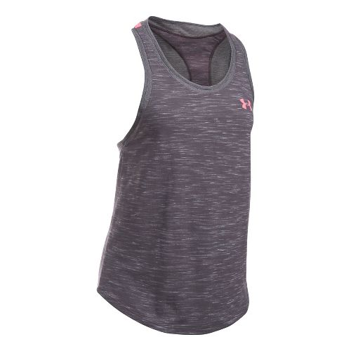 Womens Under Armour Mesh Wordmark Sleeveless & Tank Tops Technical Tops - Carbon Heather L ...
