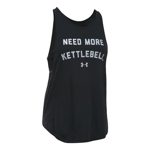 Womens Under Armour More Kettlebell Strappy Sleeveless & Tank Tops Technical Tops - Black/White ...