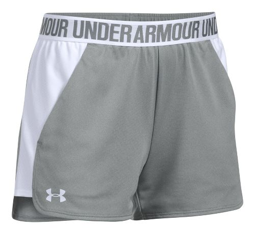 Womens Under Armour Play Up 2.0 Lined Shorts - Grey/White L