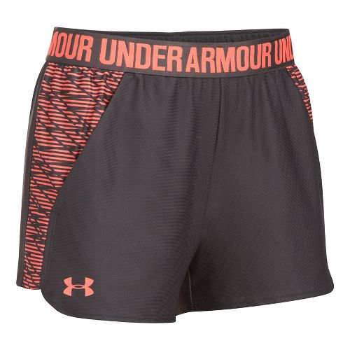 Womens Under Armour Play Up 2.0 Printed Lined Shorts - Charcoal XXL