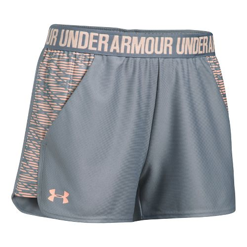 Womens Under Armour Play Up 2.0 Printed Lined Shorts - Steel M