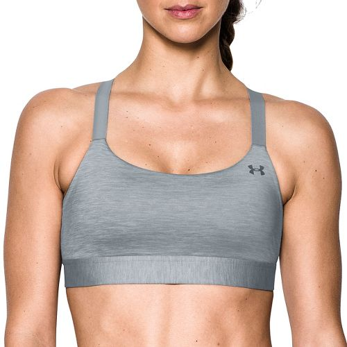 Womens Under Armour Eclipse Mid Heather Sports Bra - True Grey Heather L