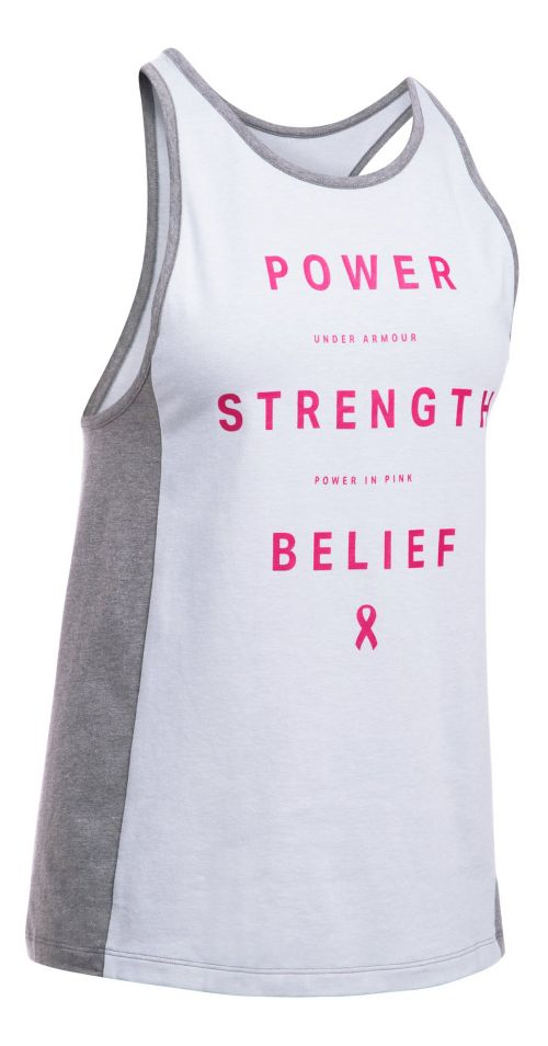 Womens Under Armour PIP Power Inset Sleeveless & Tank Tops Technical Tops - Grey/Pink M