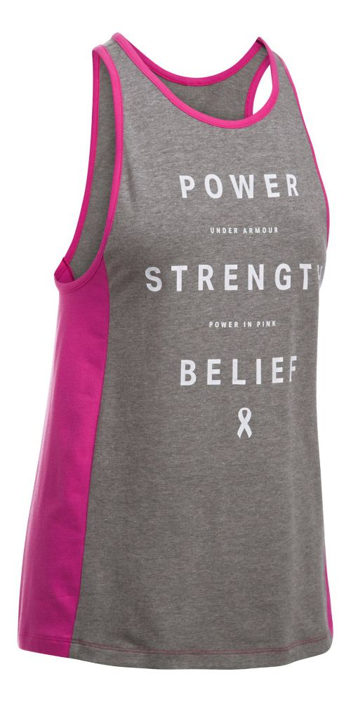 Womens Under Armour PIP Power Inset Sleeveless & Tank Tops Technical Tops - Carbon/White M