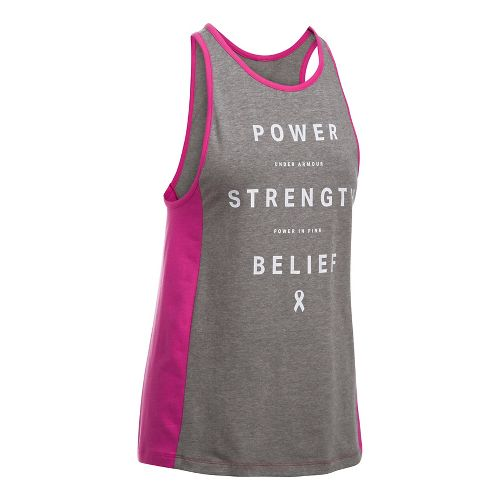 Womens Under Armour PIP Power Inset Sleeveless & Tank Tops Technical Tops - Carbon/White L ...