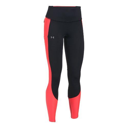 Womens Under Armour Run True Tights & Leggings Pants - Black/Marathon Red S