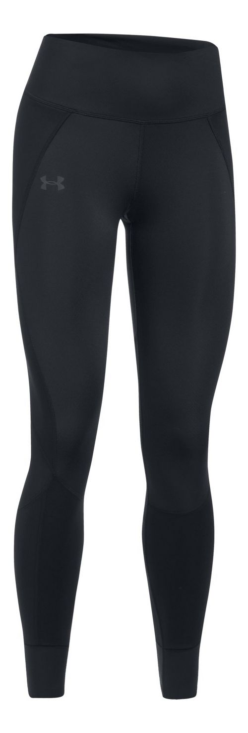 Womens Under Armour ColdGear Reactor Run Tights & Leggings Pants - Black/Black S-T