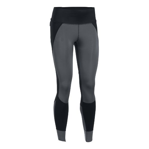 Womens Under Armour ColdGear Reactor Run Tights & Leggings Pants - Rhino Grey L