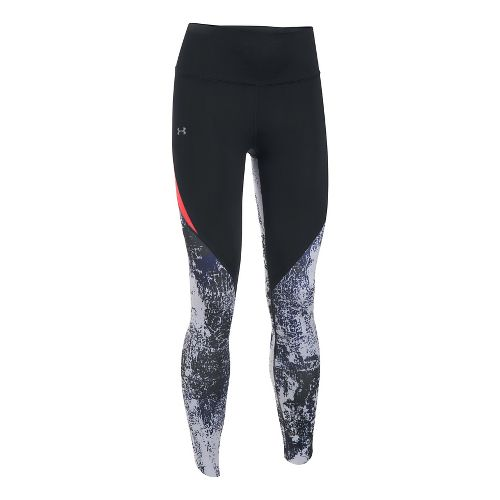 Womens Under Armour Run True BreatheLux Printed Crop Pants - Black/Marthon Red L