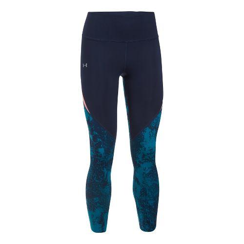 Womens Under Armour Run True BreatheLux Printed Crop Pants - Midnight Navy L