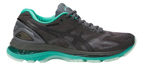 Womens ASICS GEL-Nimbus 19 Lite-Show Running Shoe - Dark Grey/Turquoise 9.5