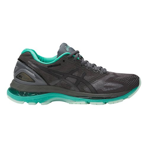 Womens ASICS GEL-Nimbus 19 Lite-Show Running Shoe - Dark Grey/Turquoise 10.5