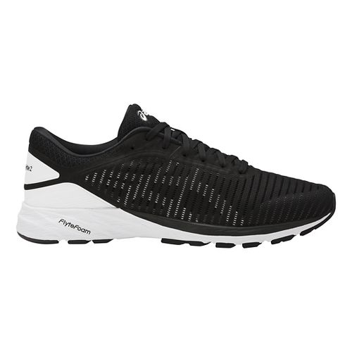 Mens ASICS DynaFlyte 2 Running Shoe - Black/White 12.5