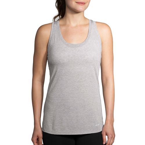 Womens Brooks Printed Distance Tank  Technical Tops - Heather Sterling M
