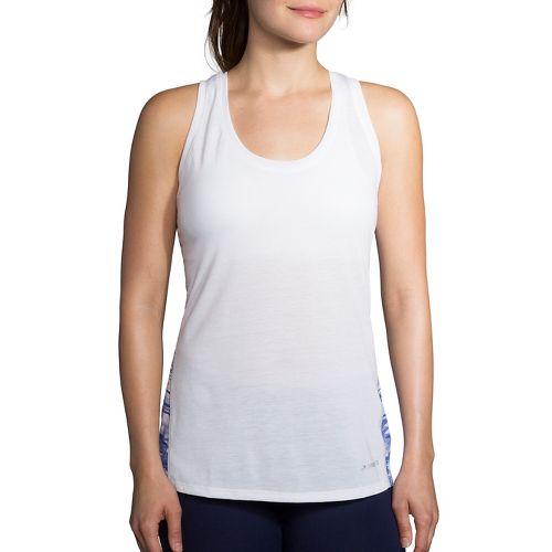 Womens Brooks Distance Printed Sleeveless & Tank Tops Technical Tops - White/Cobalt S