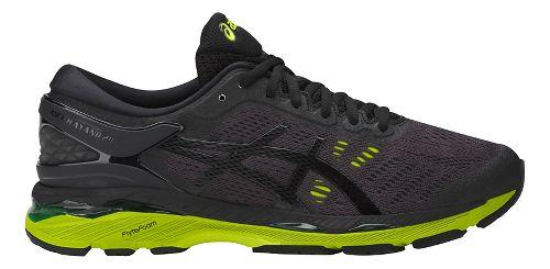 Mens ASICS GEL-Kayano 24 Running Shoe - Black/Green 10.5