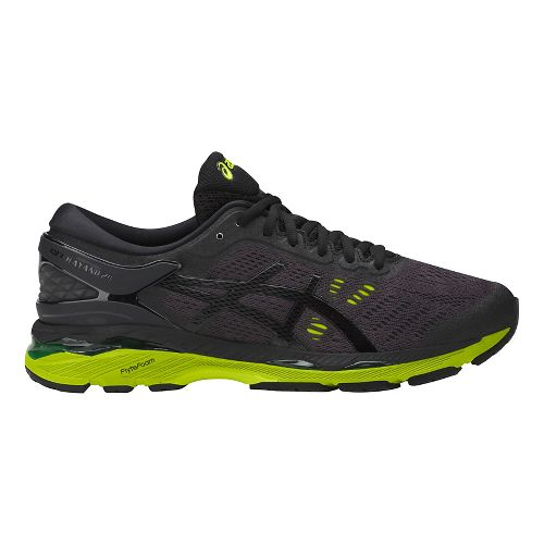 Mens ASICS GEL-Kayano 24 Running Shoe - Black/Green 8.5