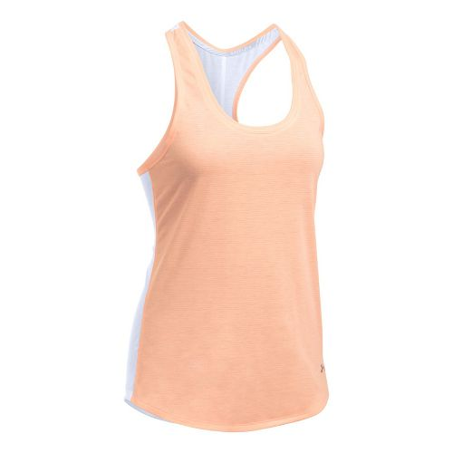 Womens Under Armour Threadborne Run Mesh Sleeveless & Tank Technical Tops - White/Peach L