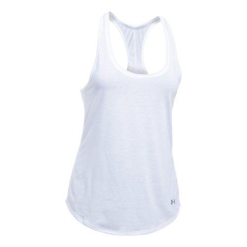 Womens Under Armour Threadborne Run Mesh Sleeveless & Tank Technical Tops - White/White L