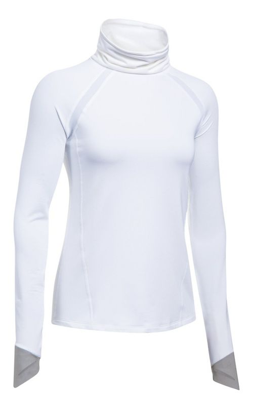 Womens Under Armour ColdGear Reactor Run Funnel Neck Cold Weather Technical Tops - White/True ...