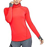 Womens Under Armour ColdGear Reactor Run Funnel Neck Cold Weather Technical Tops - Marathon Red M