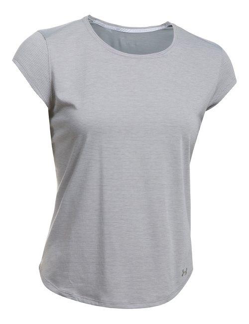 Womens Under Armour Threadborne Run Mesh Short Sleeve Technical Tops - True Grey Heather L