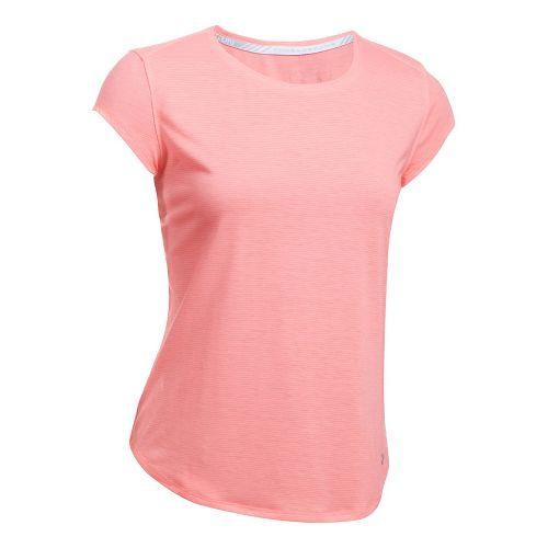 Womens Under Armour Threadborne Run Mesh Short Sleeve Technical Tops - Blue Infinity L