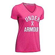 Womens Under Armour PIP Wordmark Tech V-Twist Short Sleeve Technical Tops
