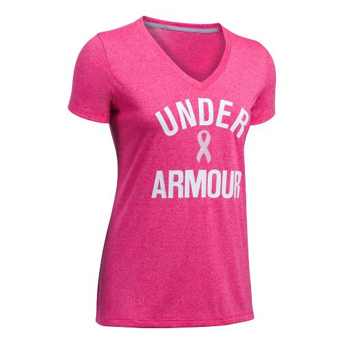 Womens Under Armour PIP Wordmark Tech V-Twist Short Sleeve Technical Tops - Pink/White L