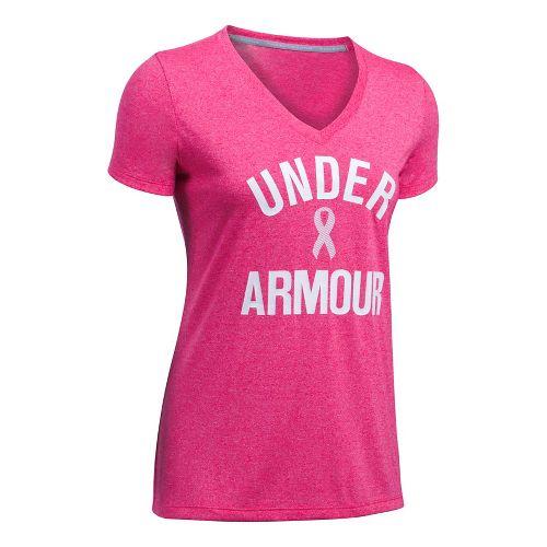 Womens Under Armour PIP Wordmark Tech V-Twist Short Sleeve Technical Tops - Pink/White M