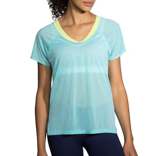 Womens Brooks Ghost Short Sleeve Technical Tops - Mirage/Aloe XL