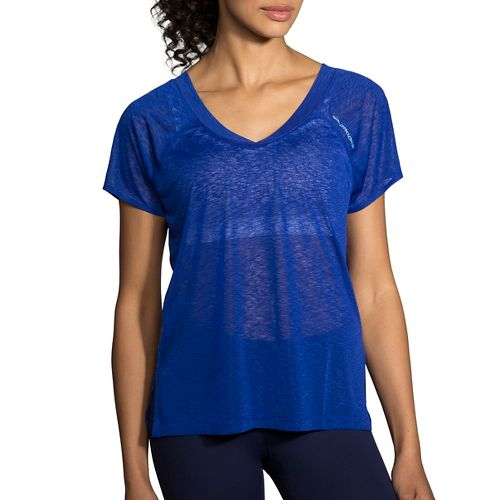 Womens Brooks Ghost Short Sleeve Technical Tops - Cobalt L