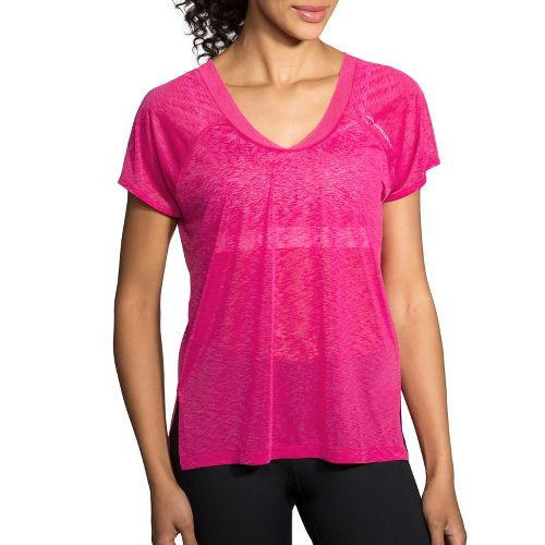 Womens Brooks Ghost Short Sleeve Technical Tops - Petal XL