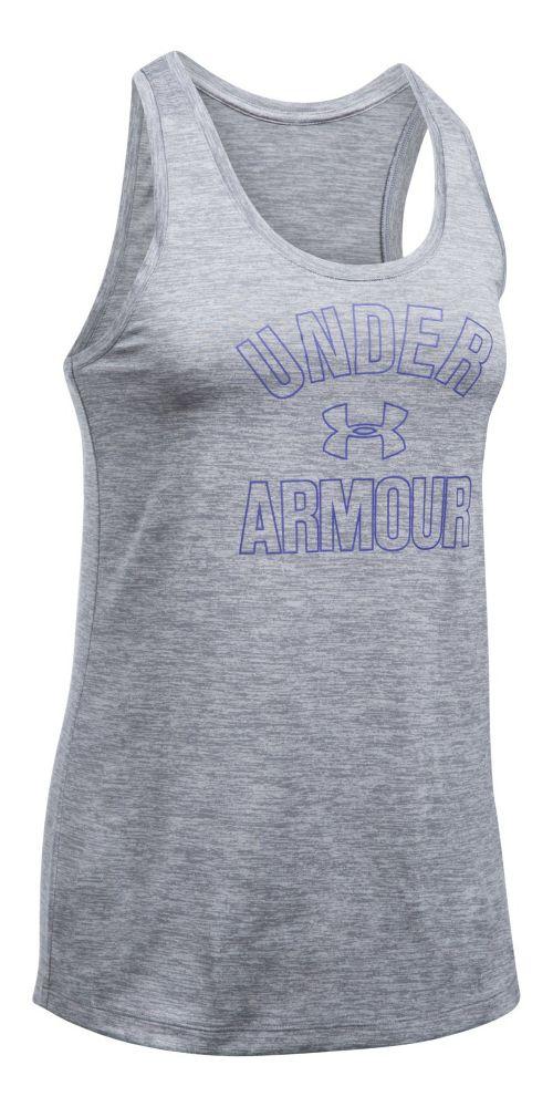 Womens Under Armour PS Wordmark Twist Sleeveless & Tank Tops Technical Tops - Steel S