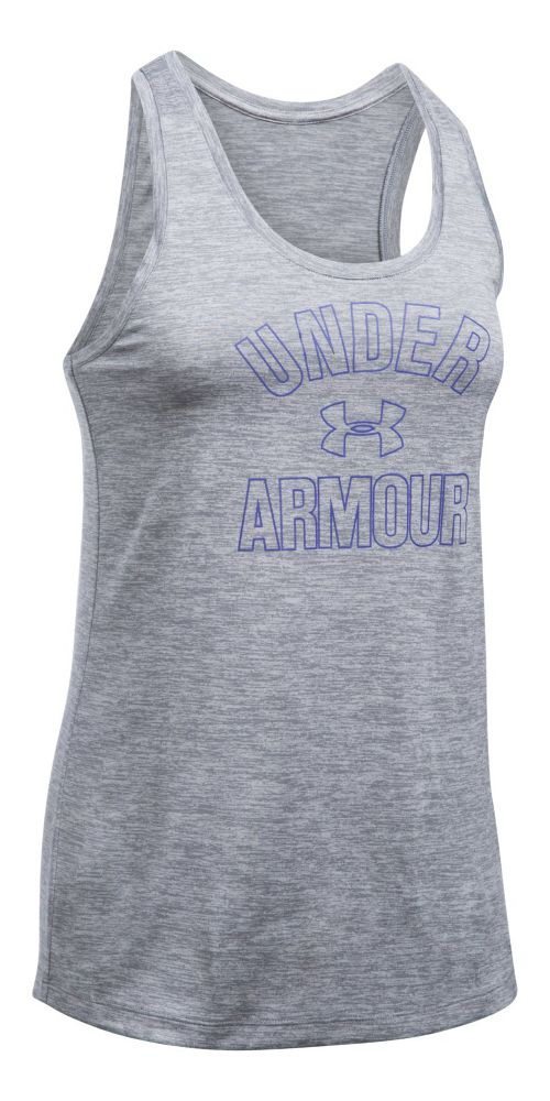 Womens Under Armour PS Wordmark Twist Sleeveless & Tank Tops Technical Tops - Steel XS