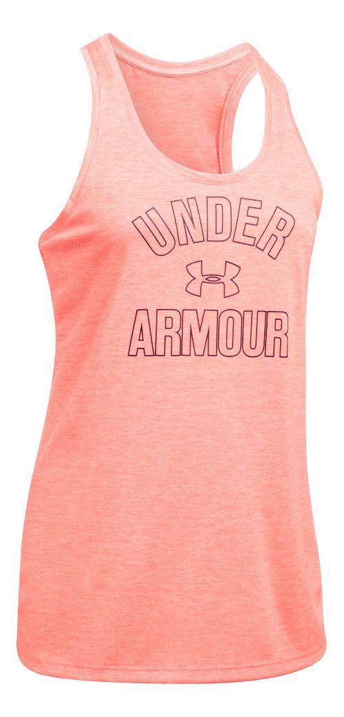 Womens Under Armour PS Wordmark Twist Sleeveless & Tank Tops Technical Tops - London Orange M