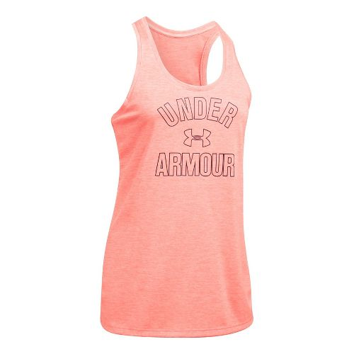 Womens Under Armour PS Wordmark Twist Sleeveless & Tank Tops Technical Tops - London Orange ...