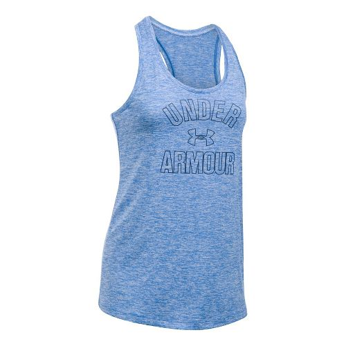 Womens Under Armour PS Wordmark Twist Sleeveless & Tank Tops Technical Tops - Mediterranean M ...