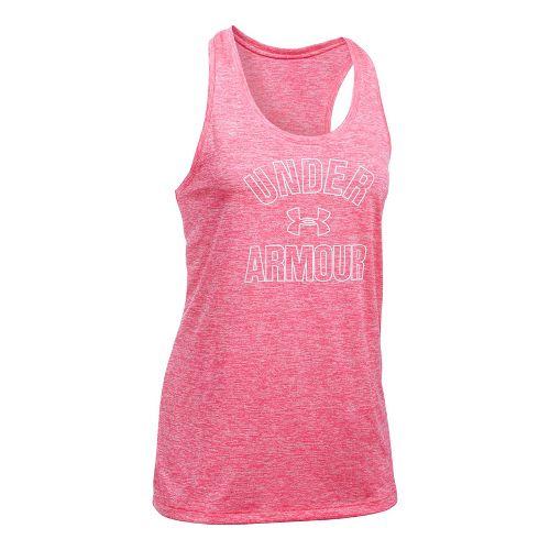 Womens Under Armour PS Wordmark Twist Sleeveless & Tank Tops Technical Tops - Pink Shock ...