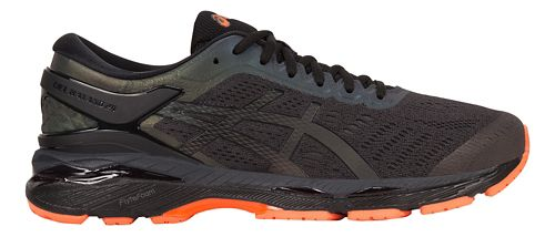 Mens ASICS GEL-Kayano 24 Lite-Show Running Shoe - Black/Orange 10.5