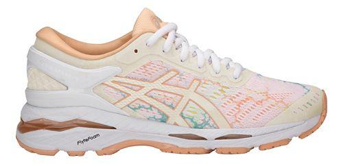Womens ASICS GEL-Kayano 24 Lite-Show Running Shoe - White/Apricot 11