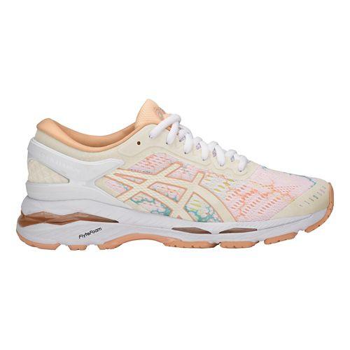 Womens ASICS GEL-Kayano 24 Lite-Show Running Shoe - White/Apricot 10