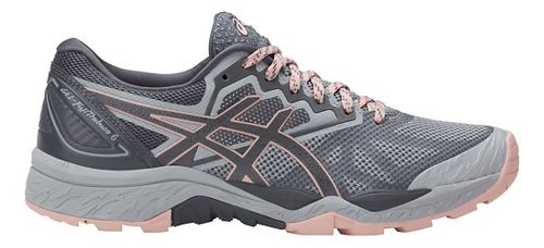 Womens ASICS GEL-FujiTrabuco 6 Trail Running Shoe - Grey/Light Pink 9.5