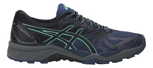 Womens ASICS GEL-FujiTrabuco 6 Trail Running Shoe - Blue/Green 8.5