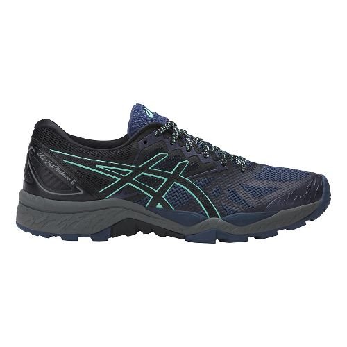 Womens ASICS GEL-FujiTrabuco 6 Trail Running Shoe - Blue/Green 7.5