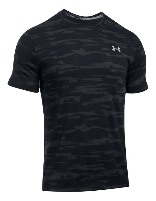 Mens Under Armour Threadborne Run Mesh Short Sleeve Technical Tops - Black/Black XXL