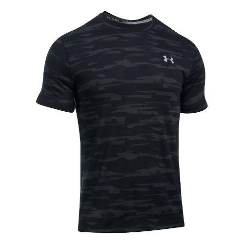 Mens Under Armour Threadborne Run Mesh Short Sleeve Technical Tops - Black/Black M